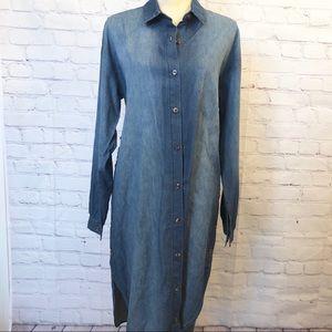 Paper Crane long sleeve chambray button down dress
